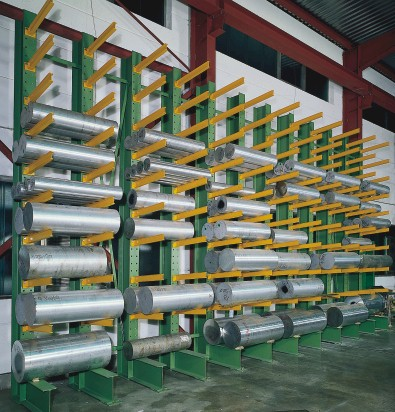 Cantilever racking for round stock and materials
